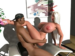 3D hardcore interracial video